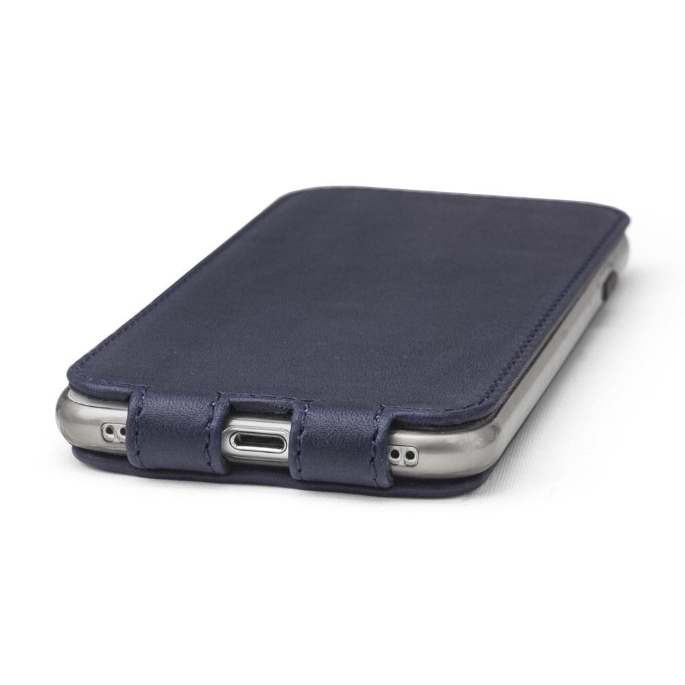 Чехол для iPhone 7 из натуральной кожи теленка, темно-синего цвета