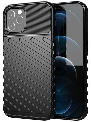 Черный противоударный чехол на iPhone 12 и 12 pro, серия Onyx от Caseport