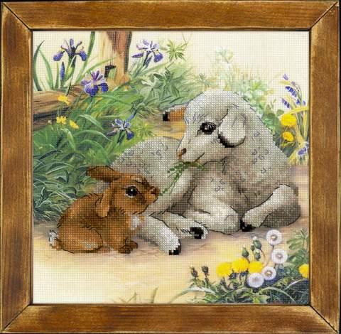 Набор для вышивания крестом «Ягненок и кролик» (0051 РТ)