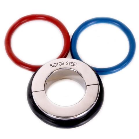 Металлическая утяжка на мошонку с 3-мя кольцами в комплекте Ball Stretcher 45 mm - With 3 Rubber Rings (Black, Red & Blue)