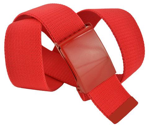 Ремень текстильный эластичный джинсовый красный 4 см 40Rezinka-008