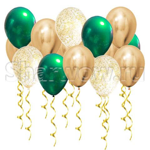 Воздушные шары с гелием Хром золото и зеленый