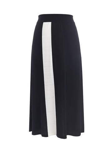 Женская юбка черного цвета с контрастной полосой из шелка и вискозы - фото 1