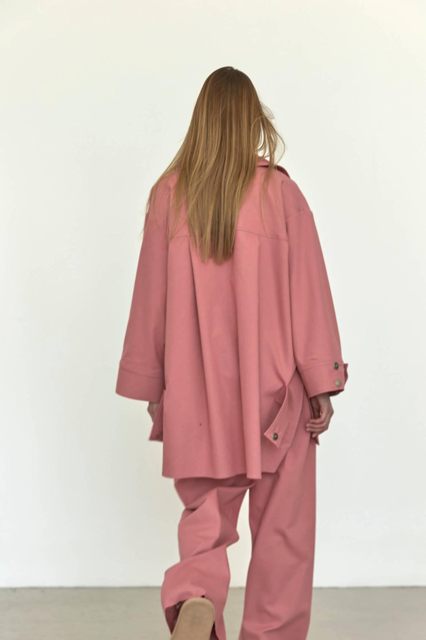 Куртка-рубашка на кнопках из денима, лососевая