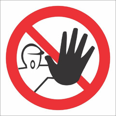 Знак безопасности P06 Доступ посторонним запрещён (пластик 200х200)