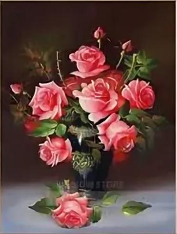 Алмазная Мозаика 30x40 Букет розовых роз в черной вазе (арт. S3272)