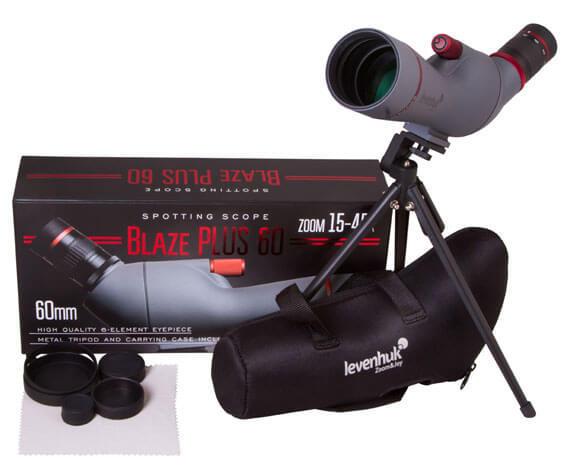 Комплект поставки трубы Levenhuk Blaze PLUS 60: чехол, крышки, салфетки, штатив