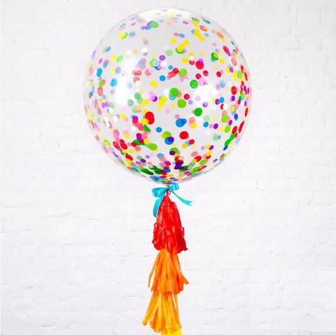большой шар с цветным конфетти