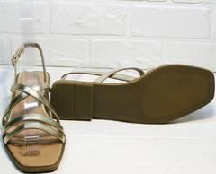 Модные женские босоножки на низком ходу Wollen M.20237D ZS Gold.