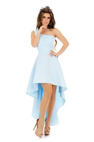 Асимметричное атласное платье на одно плечо, голубого цвета