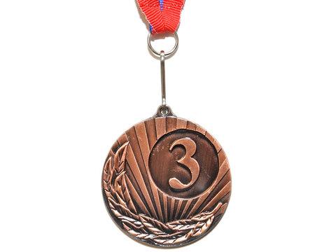 Медаль спортивная с лентой за 3 место. Диаметр 5 см: 1703-3