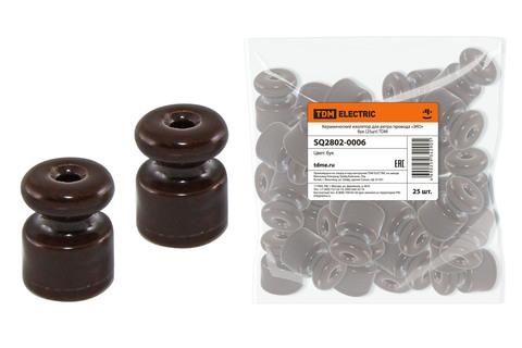 Керамический изолятор для ретро провода  «ЭКО» бук (25шт) TDM