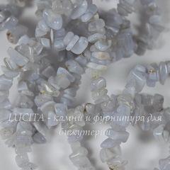Бусина Агат, Голубое Кружево, крошка, 3-15 мм, нить