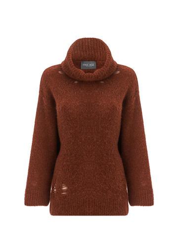 Женский свитер терракотового цвета из шерсти - фото 1