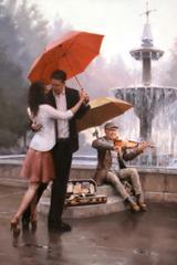 Картина раскраска по номерам 50x65 Влюбленные танцуют под зонтом