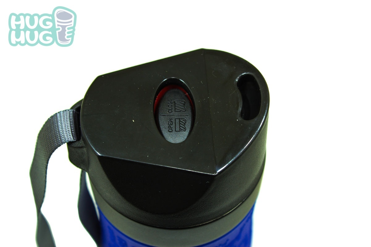 Термокружка Kamille с кнопкой, TPR и ремешком 480 мл. синяя