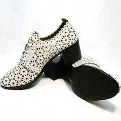 Кожаные босоножки туфли на толстом каблуке Arella 426-33 White.