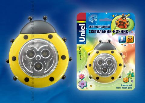 DTL-354 Божья Коровка/Yellow/3LED/3AAA Cветильник-ночник Божья Коровка,питание от 3-х батареек AAA (в комплект не входят). Цвет -желтый. Упаковка - блистер