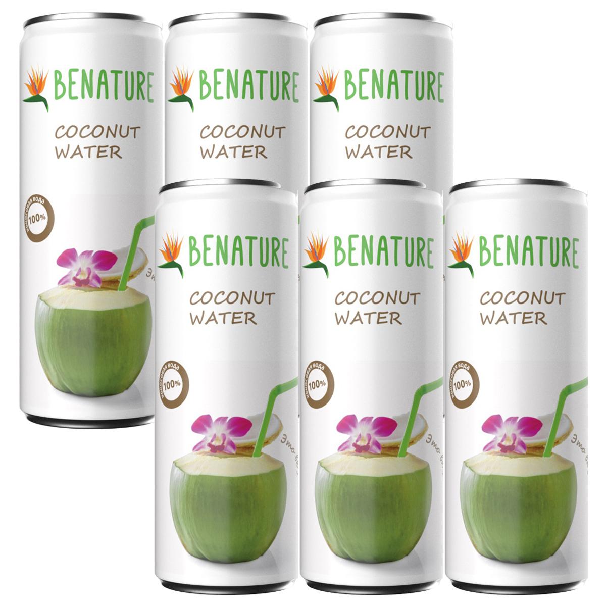 Вода кокосовая 6 шт по 250мл Benature ж/б