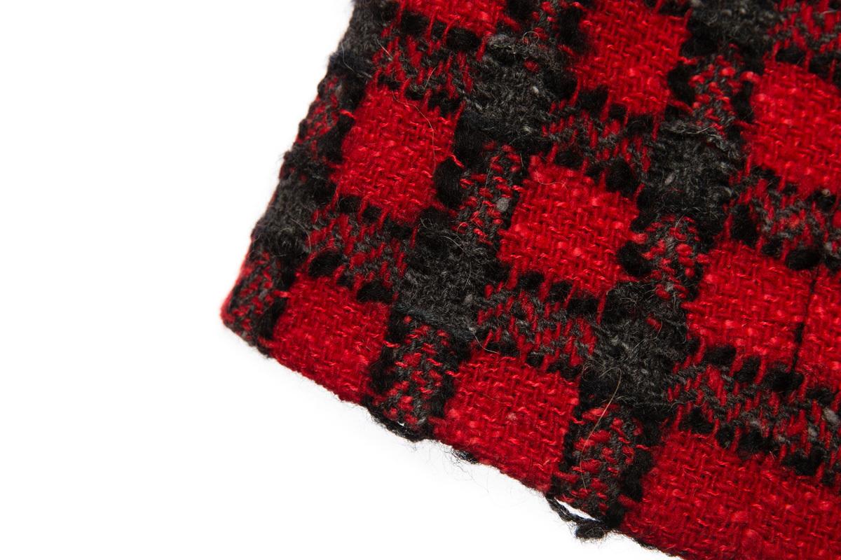 Стильная твидовая юбка в клетку с высокой талией, 38 размер