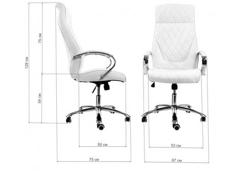 Офисное кресло для персонала и руководителя Компьютерное Monte белое 67*67*129 Хромированный металл /Белый