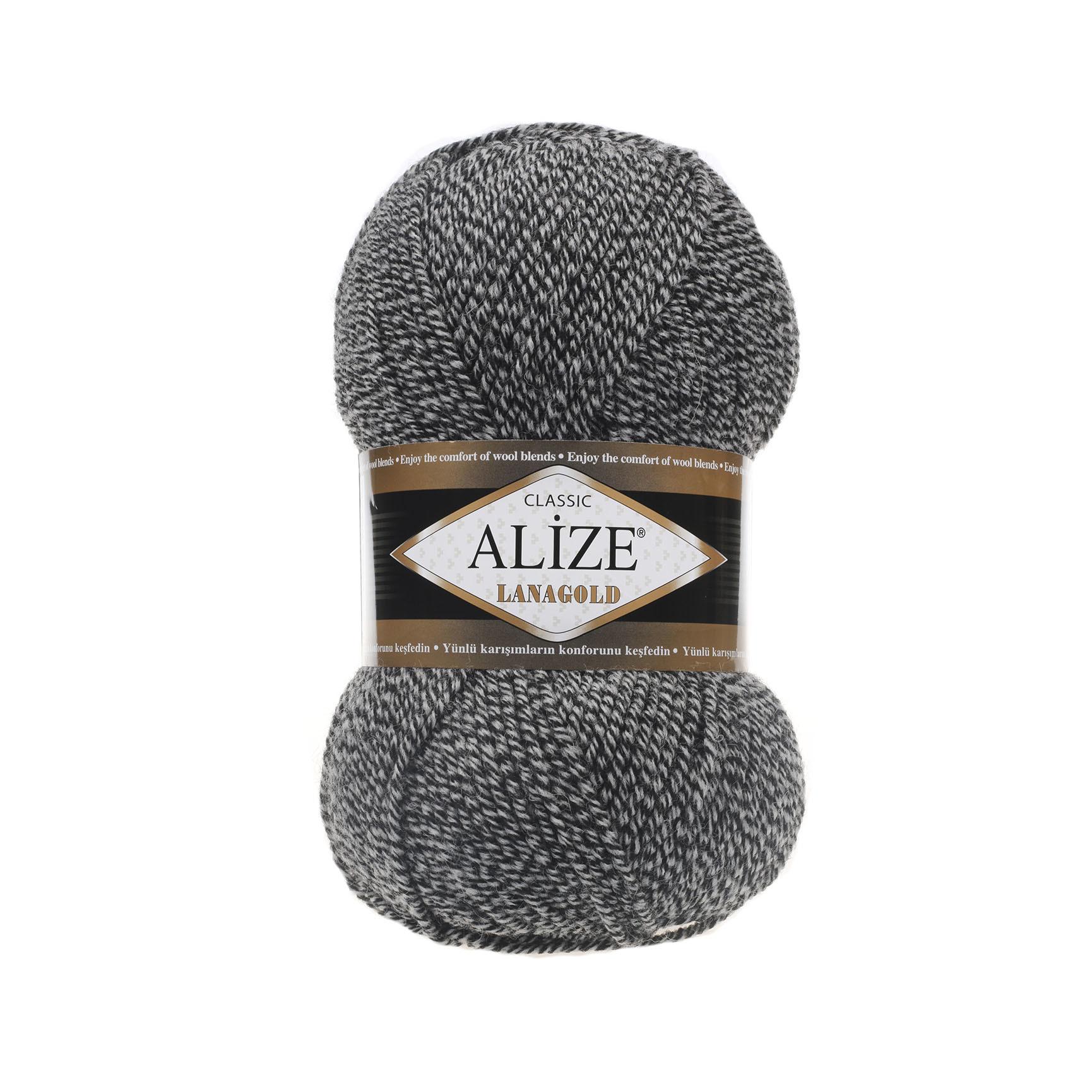 Пряжа Alize Lanagold 601 черно-белый дуэт