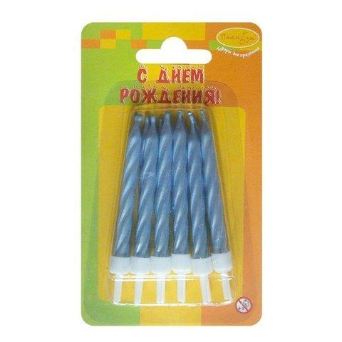Свечи для торта голубые перламутровые с держателями 6см
