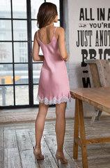 Сорочка из сатина с кружевом розовая