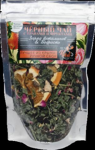Чай черный с травами и фруктами Крымские традиции  Заряд витаминов Бодрость 50 г