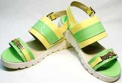 Босоножки сандали женские натуральная кожа Crisma 784 Yellow Green.