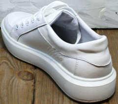 Модные белые кроссовки кеды женские натуральная кожа Maria Sonet 274k All White.