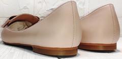 Кожаные лодочки туфли женские без каблука Wollen G192-878-322 Light Pink.