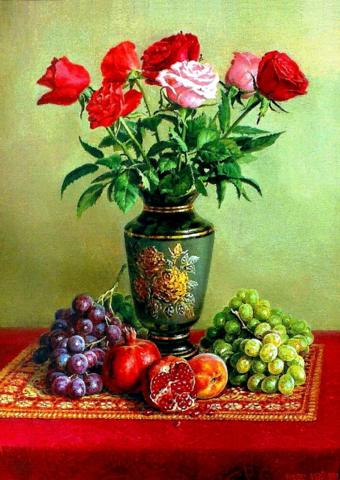 Алмазная Мозаика 30x40 Натюрморт с розами и фруктами (арт. GB70498)