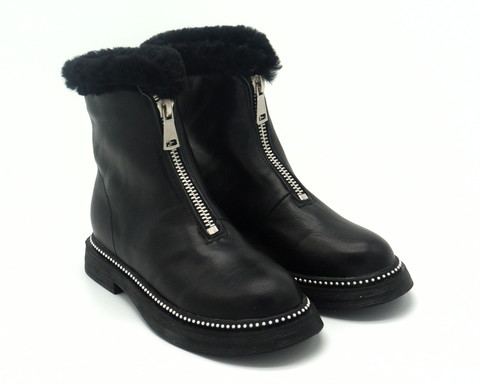 459ц Ботинки зима жен кожа черн с молнией по подъему