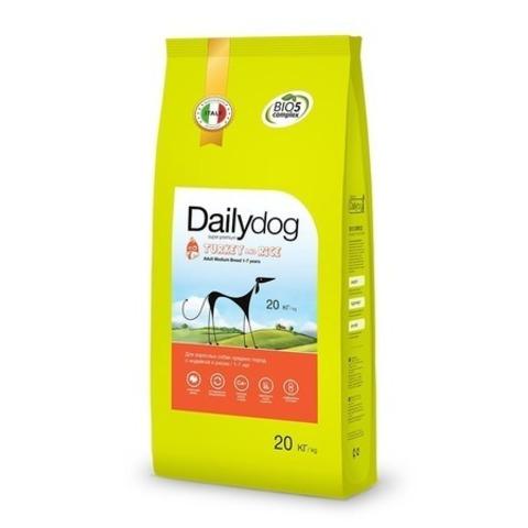 Сухой корм Dailydog Adult Medium Breed для взрослых собак средних пород с индейкой и рисом, 20 кг.