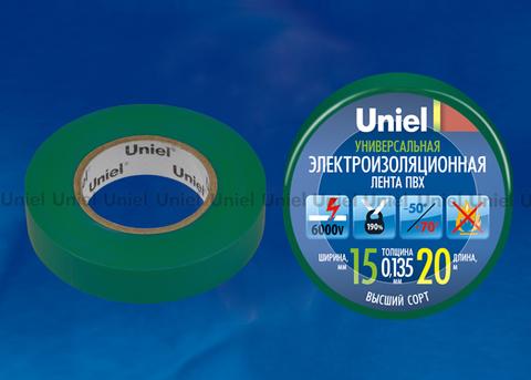 UIT-135P 20/15/01 GRN Изоляционная лента Uniel 20м, 59мм, 0,135мм, 1шт, цвет Зеленый