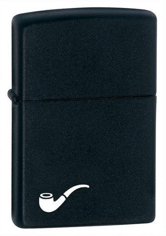 Зажигалка для трубок Zippo Black Matte, латунь с порошковым покрытием, черная, матовая, 36х12x56 мм123
