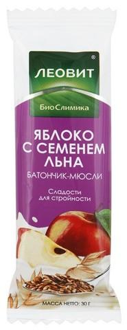 Батончик Леовит мюсли С яблоком и семенем льна 30г