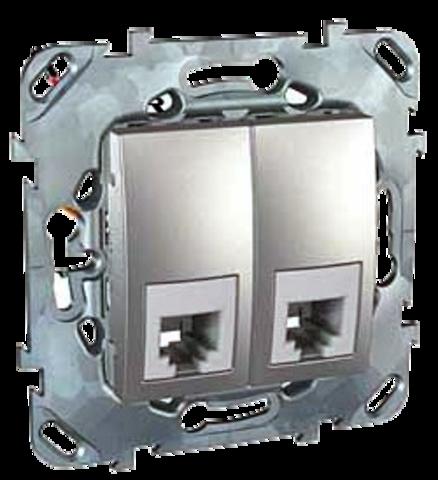Розетка Телефонная двойная 2хRJ11. Цвет Алюминий. Schneider electric Unica Top. MGU5.9090.30ZD