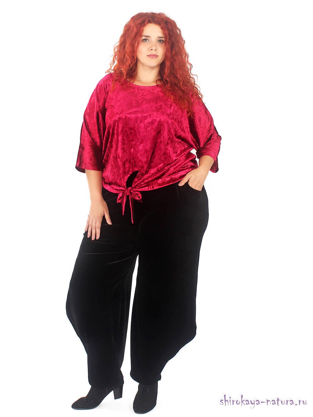 Велюровые брюки-шаровары