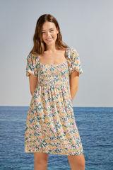 Коротка сукня з об'ємними рукавами і квітковим принтом