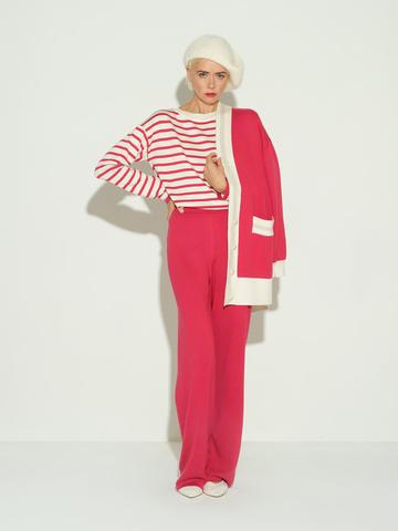 Женский джемпер в полоску красно-молочного цвета из шелка и кашемира - фото 5