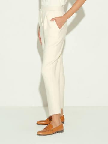 Женские брюки молочного цвета из шерсти и кашемира - фото 5