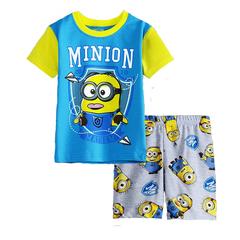 Миньон детский комплект футболка и шорты голубые