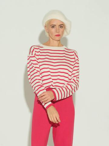 Женский джемпер в полоску красно-молочного цвета из шелка и кашемира - фото 2