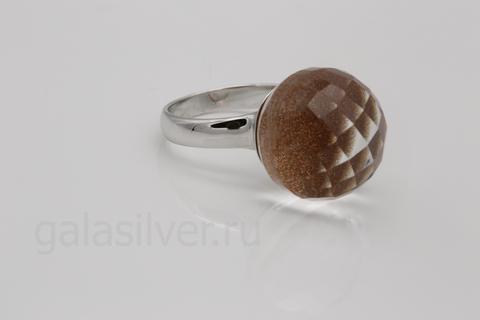 Кольцо с горным хрусталем и авантюрином из серебра 925