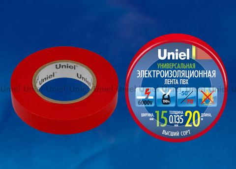 UIT-135P 20/15/01 RED Изоляционная лента Uniel 20м, 15мм, 0,135мм, 1шт, цвет Красный