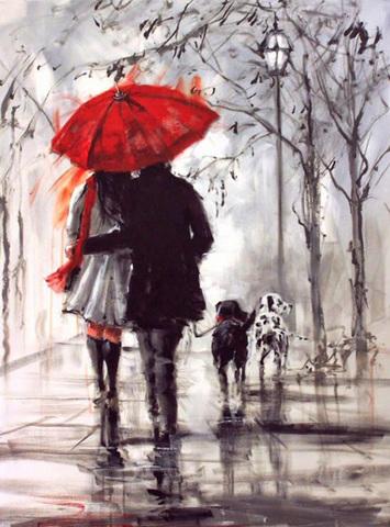 Картина раскраска по номерам 30x40 Романтическая прогулка с собаками под дождем