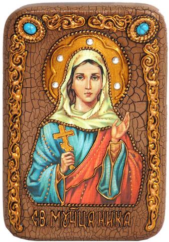 Инкрустированная икона Святая мученица Ника Коринфская 15х10см на натуральном дереве, в подарочной коробке