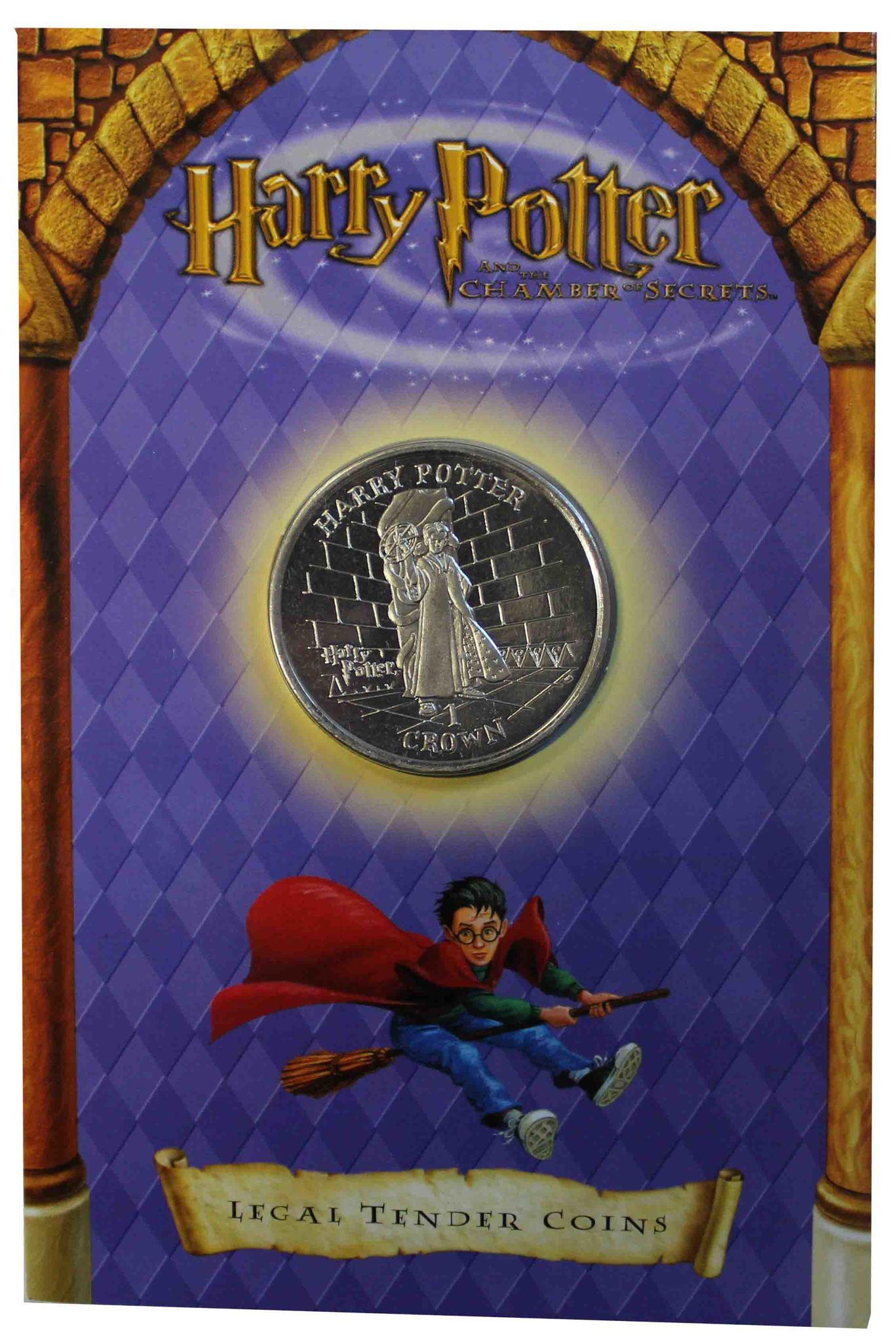 """""""Гарри Поттер и Том Реддл"""" 1 крона 2002 остров Мэн (в блистере)"""